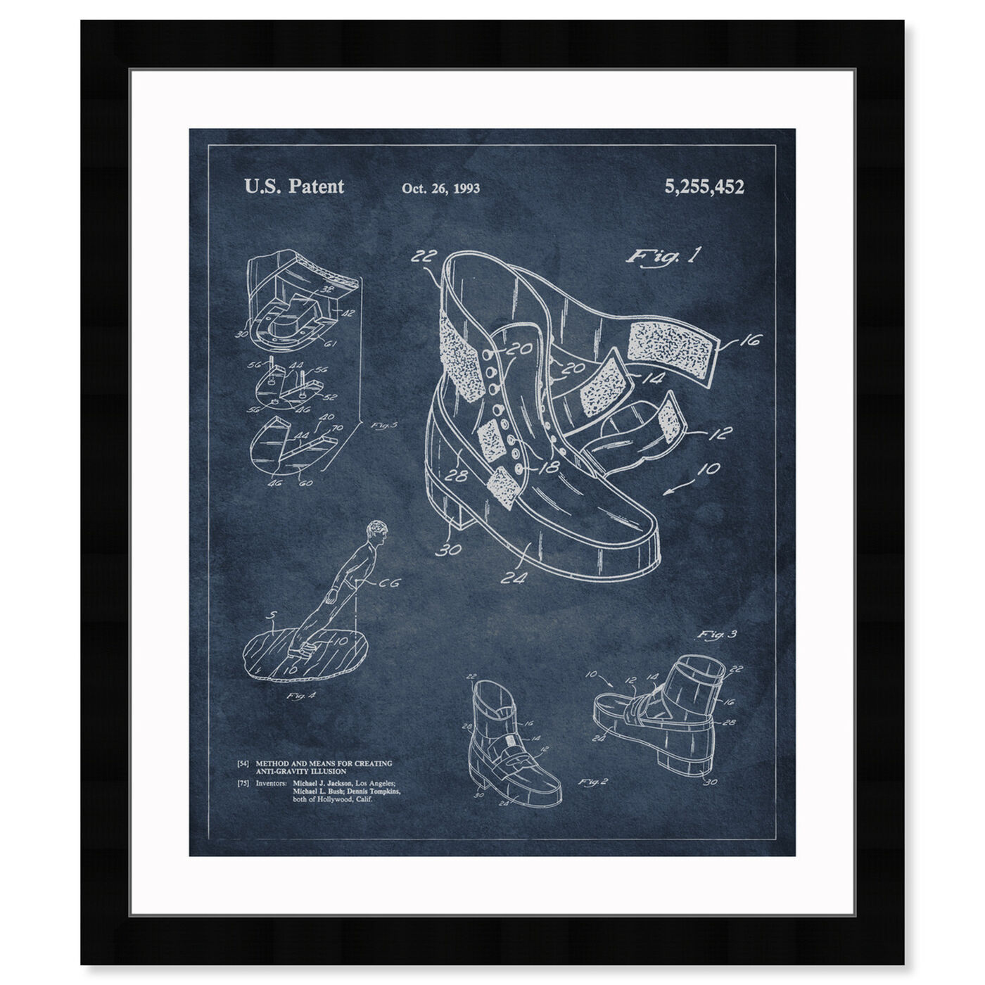 Front view of Michael Jackson Moonwalk Shoes 1993 featuring music and dance and musicians art.
