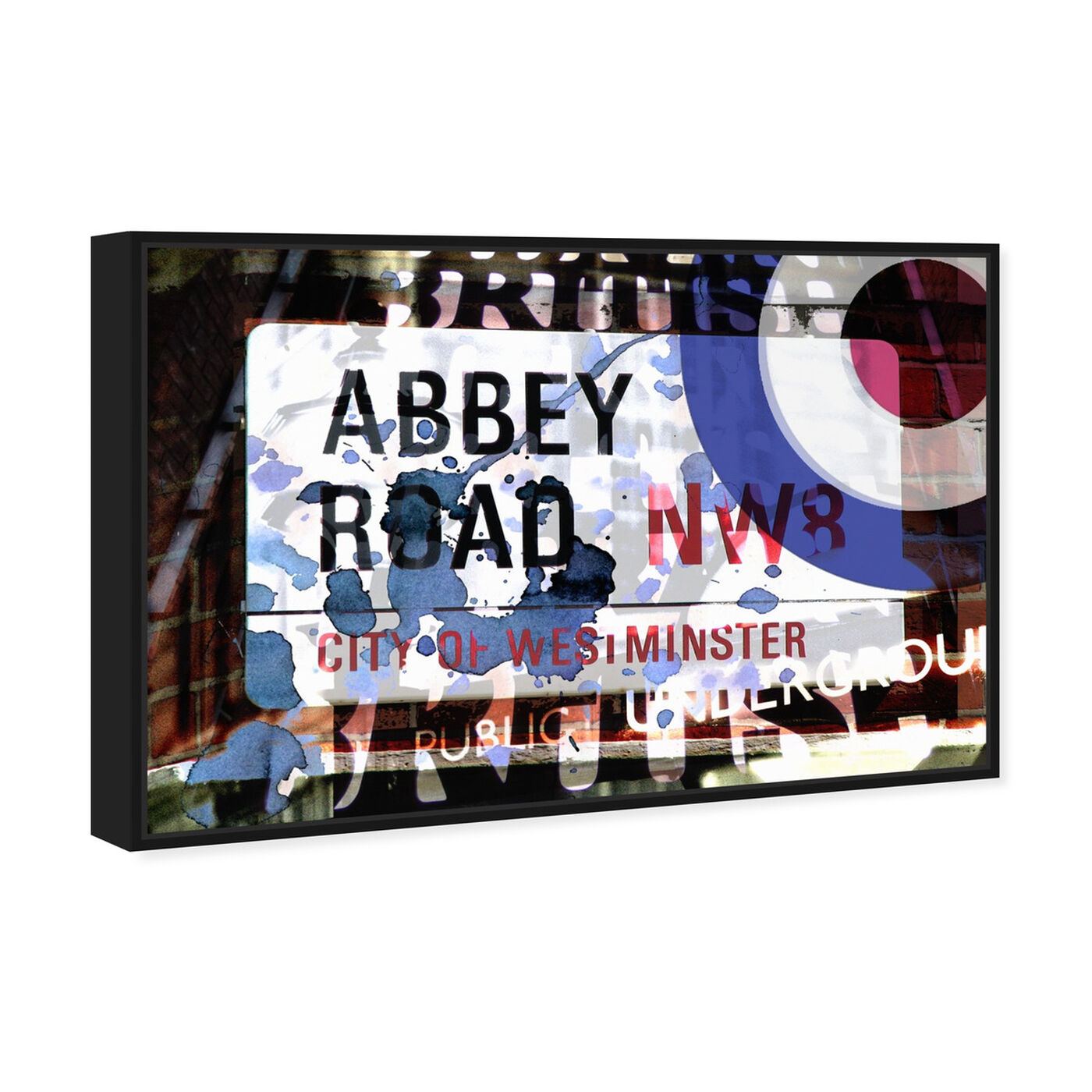 Angled view of Abbey Road featuring advertising and posters art.