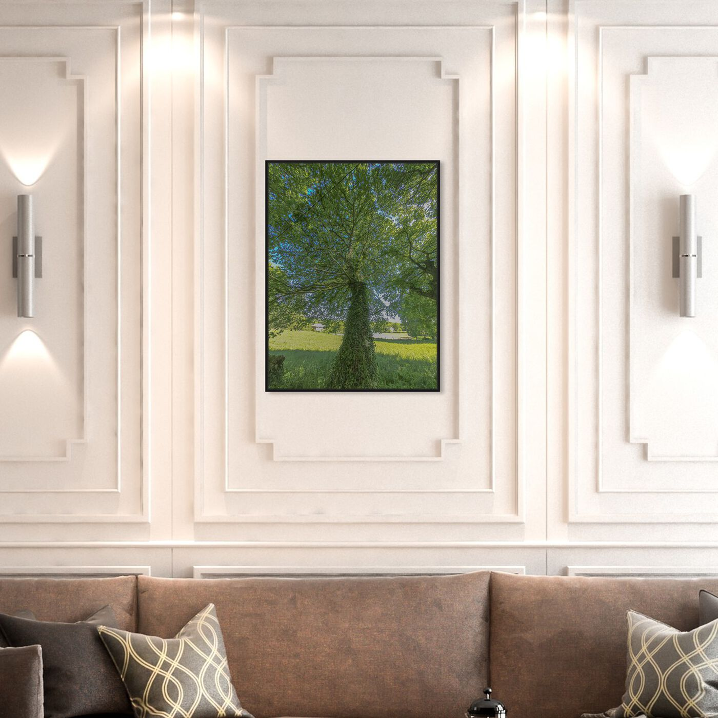 Hanging view of Curro Cardenal - One Great Green I featuring floral and botanical and trees art.