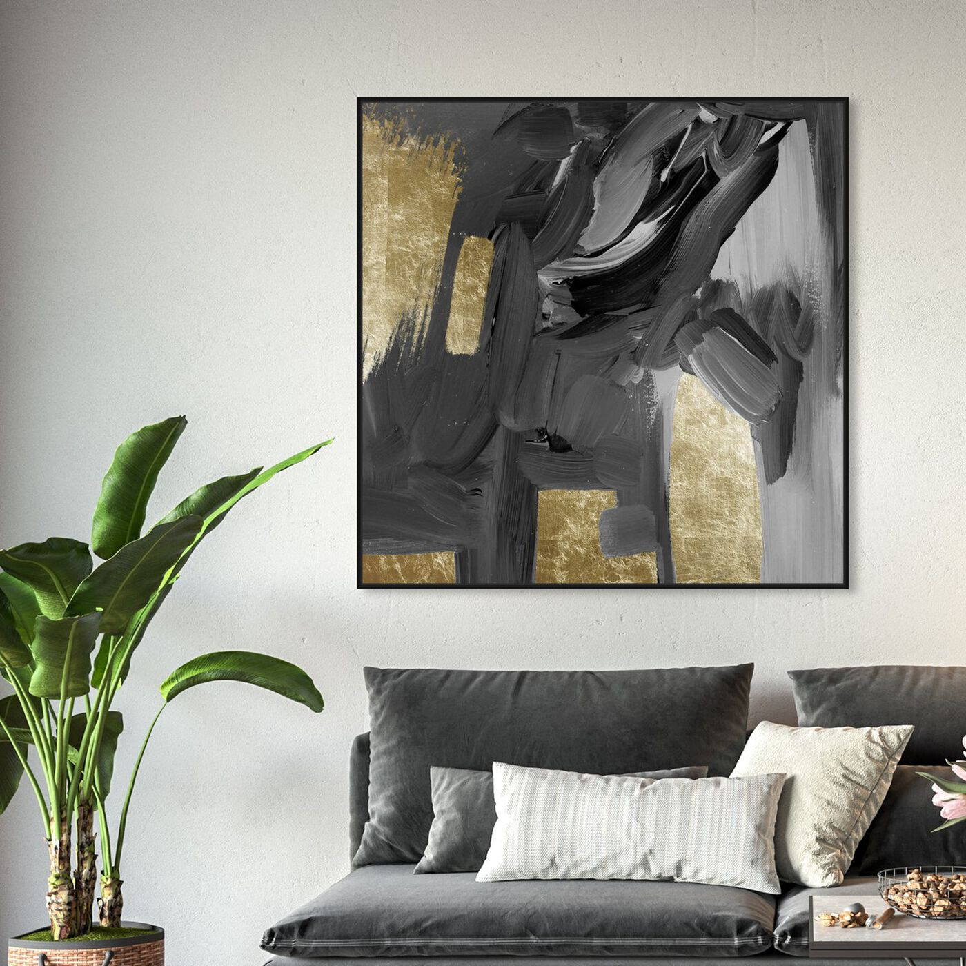 Hanging view of Mighty Gold featuring abstract and paint art.