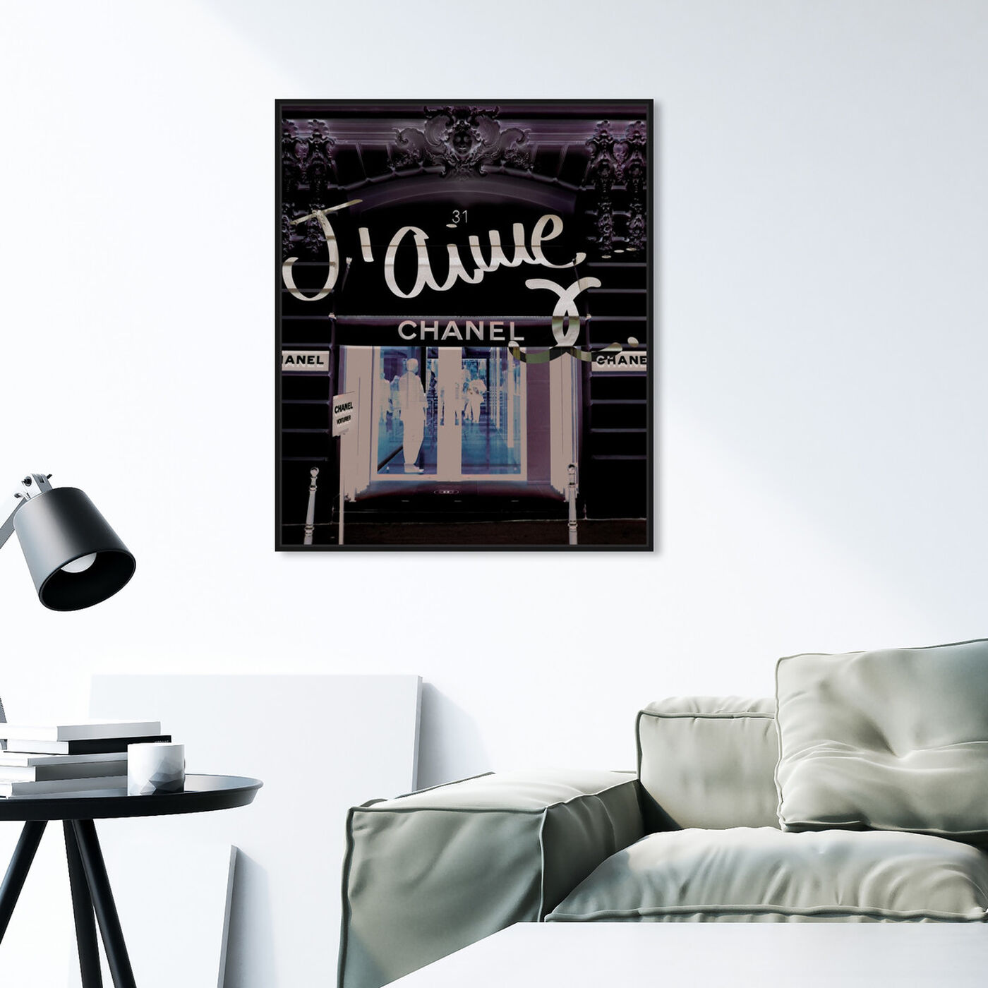 Hanging view of 31 Rue Cambon featuring fashion and glam and road signs art.