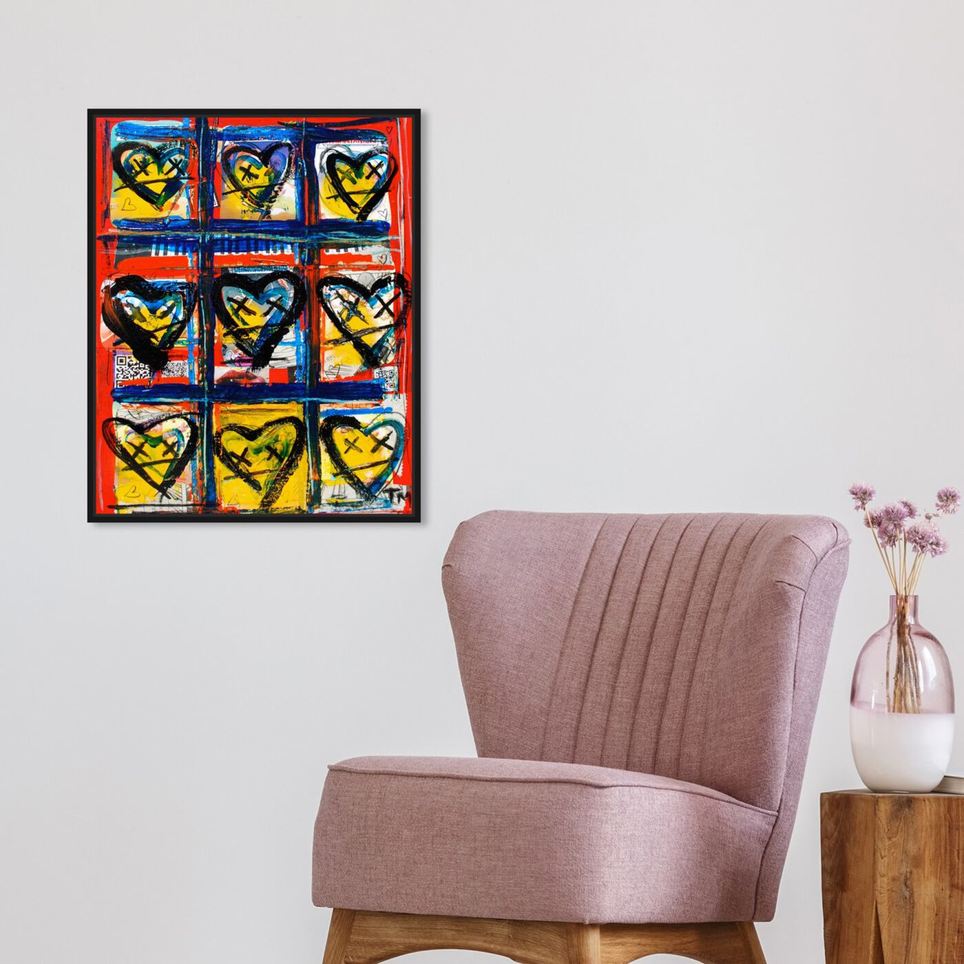 Hanging view of Code Red by Tiago Magro featuring fashion and glam and hearts art.