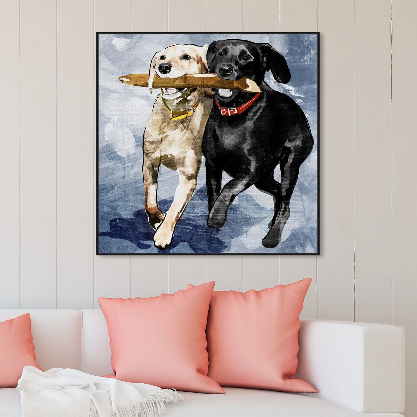 Hanging view of Playtime Blue featuring animals and dogs and puppies art.