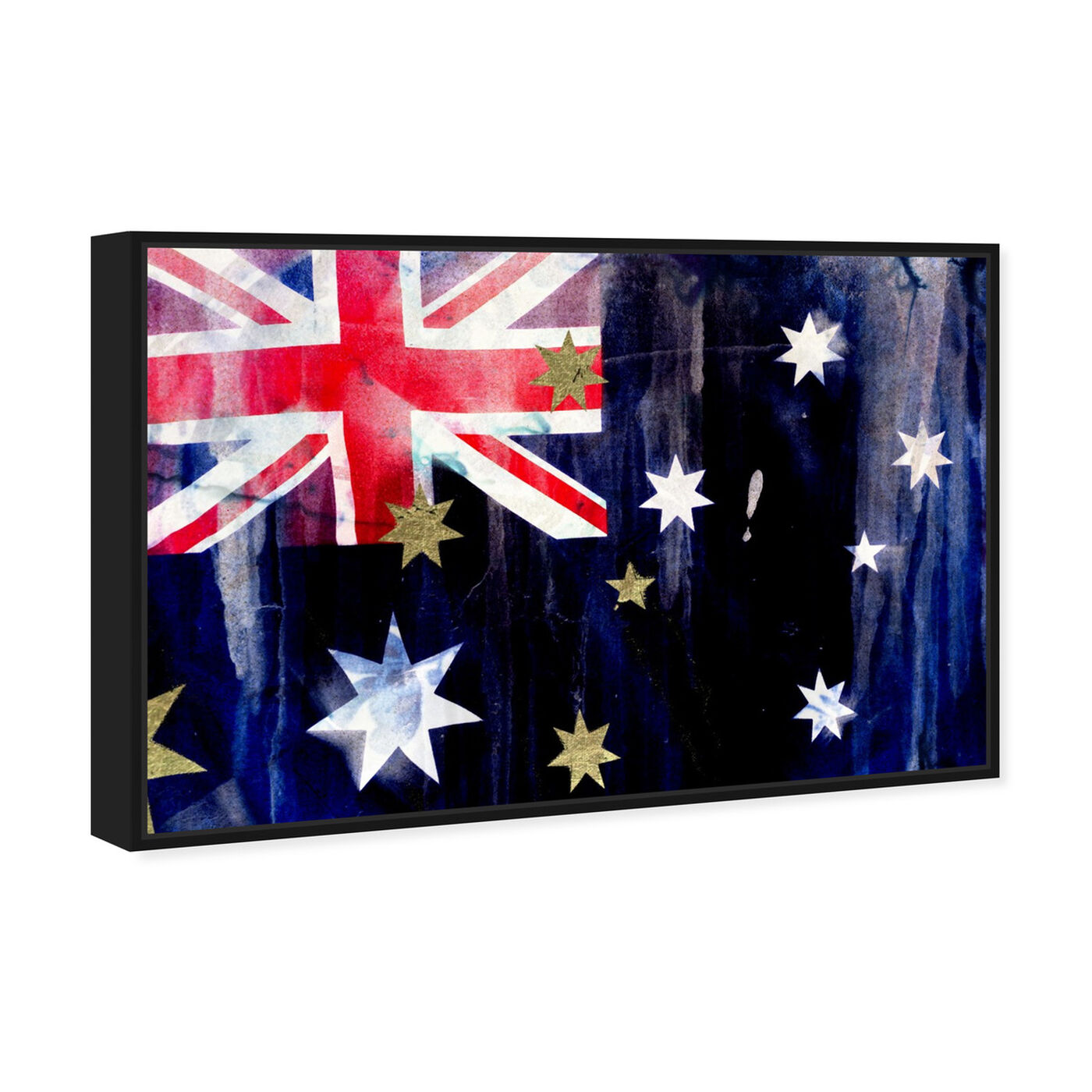 Angled view of Australian Flag Interpreted by Oliver Gal featuring maps and flags and oceania countries flags art.
