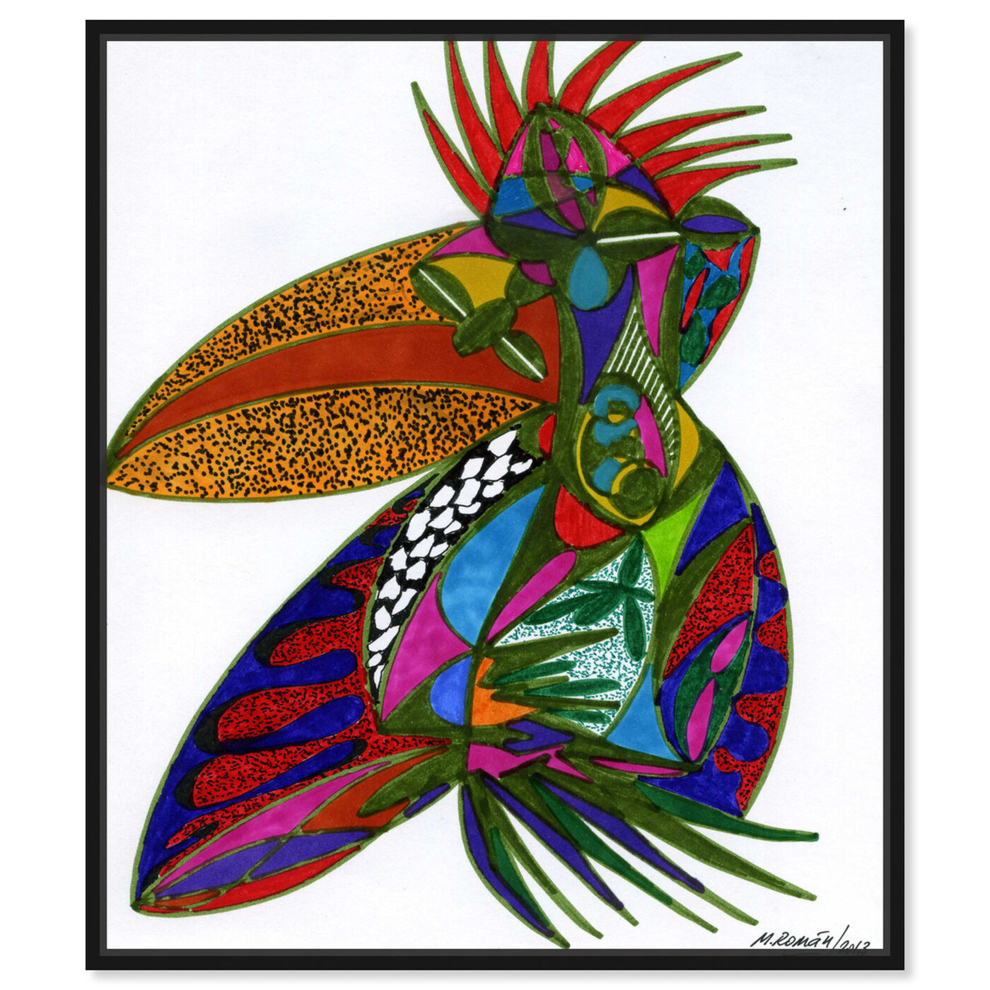 Front view of Toucan featuring abstract and shapes art.