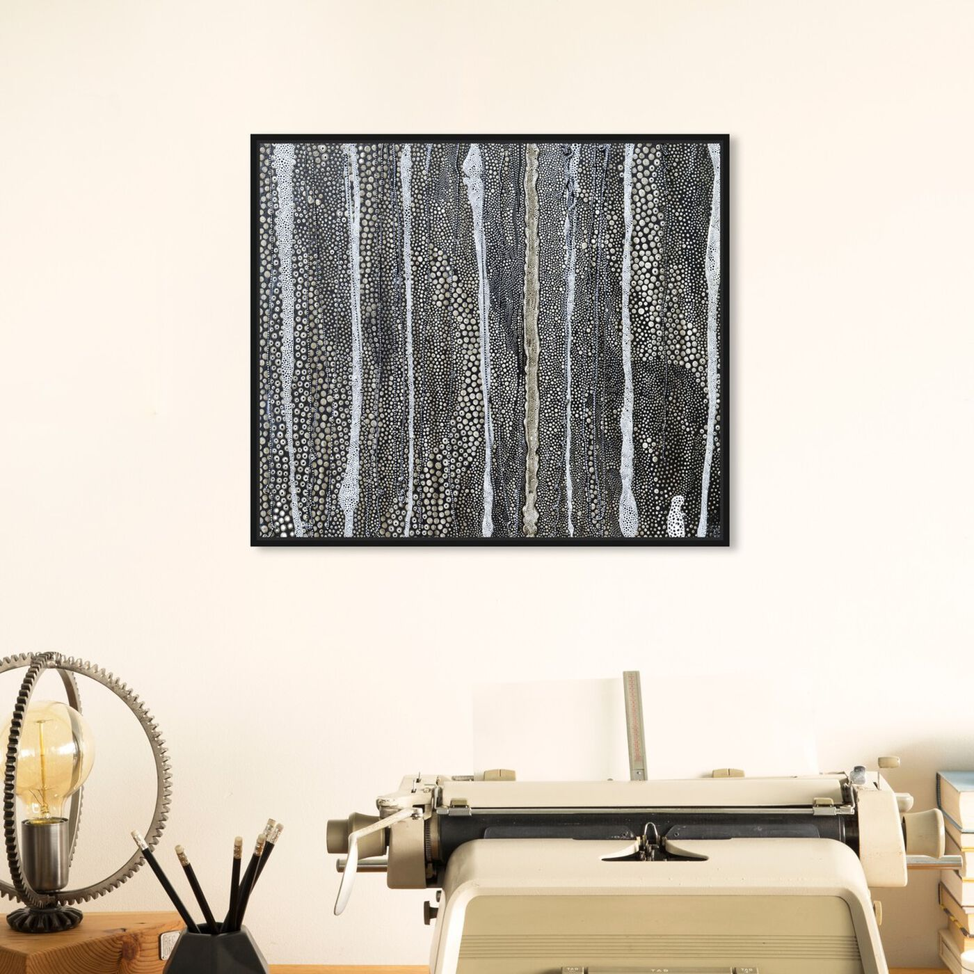 Hanging view of Enriqueta Ahrensburg - Black and white featuring abstract and textures art.