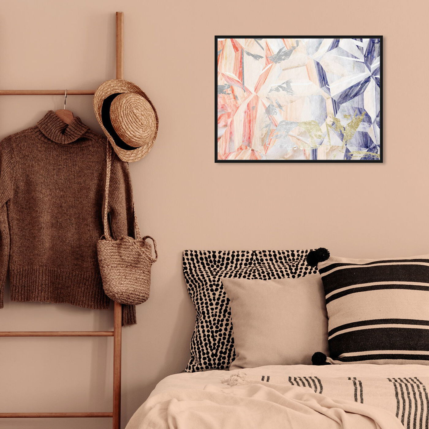 Hanging view of Modernist Kind of Love featuring abstract and crystals art.
