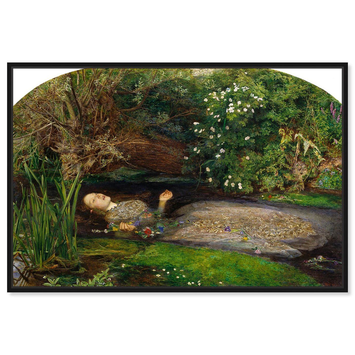Front view of Millais - Ophelia featuring classic and figurative and impressionism art.