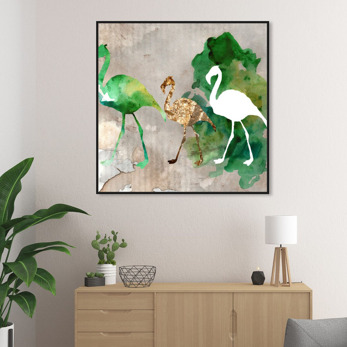 Hanging view of Go Flamingo Go featuring animals and birds art.