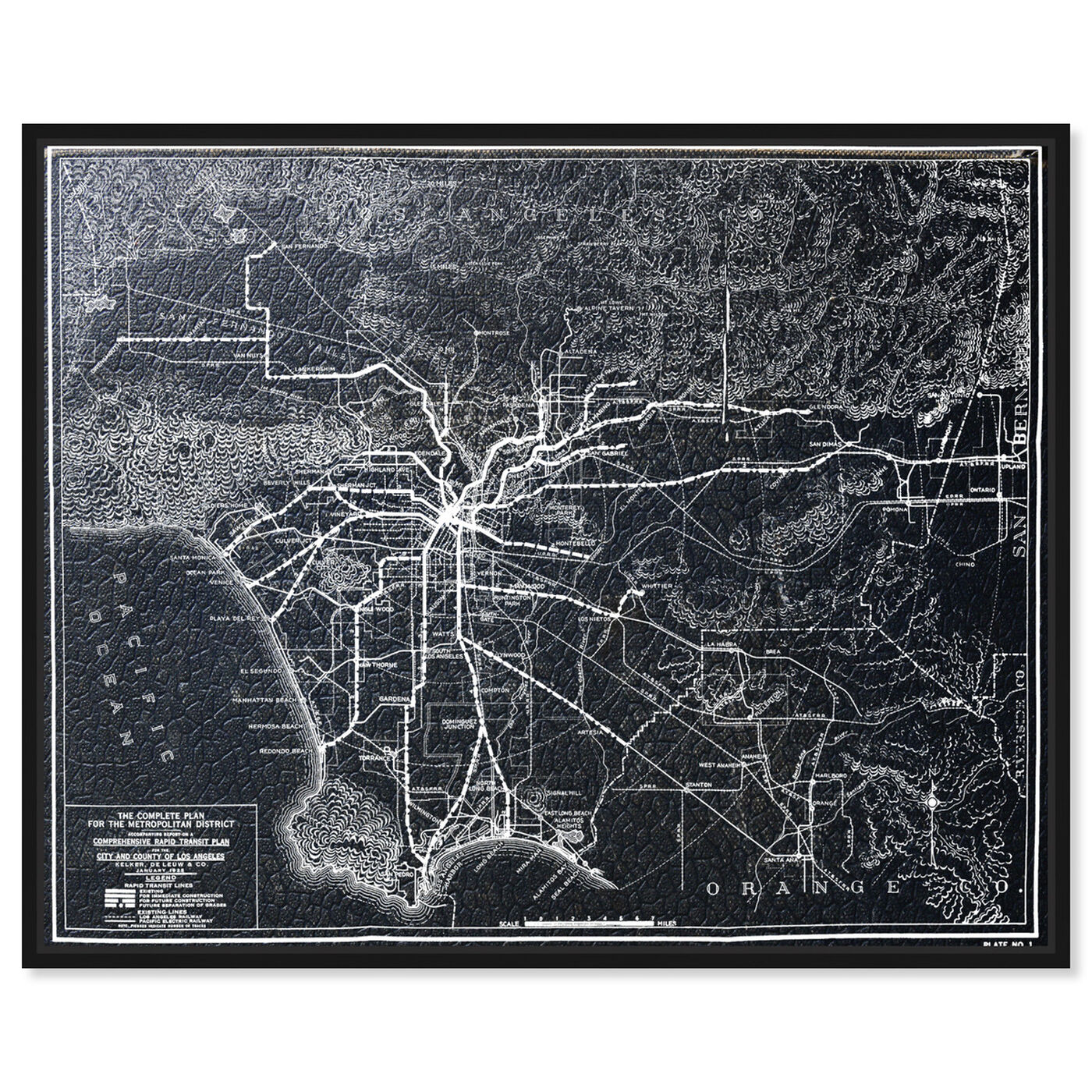 Front view of LA Rapid Transit Map 1925 featuring maps and flags and us cities maps art.
