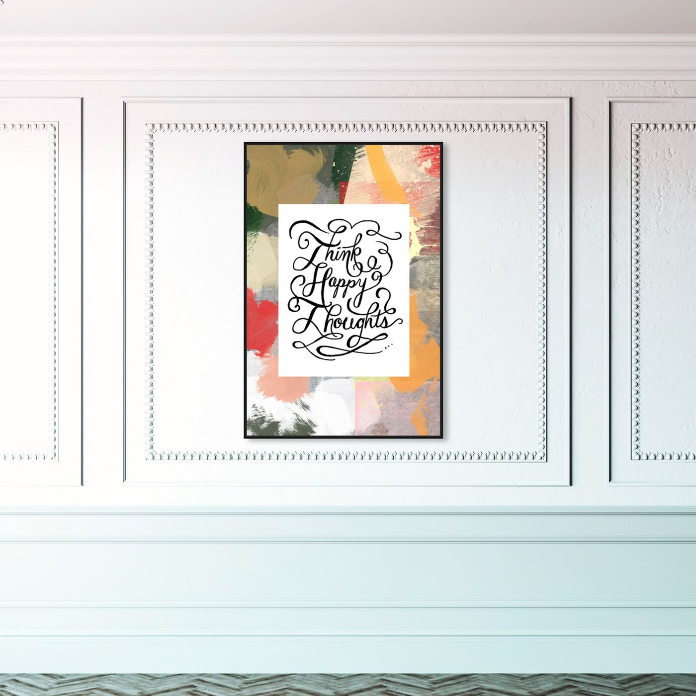 Hanging view of Happy Thoughts I featuring typography and quotes and inspirational quotes and sayings art.