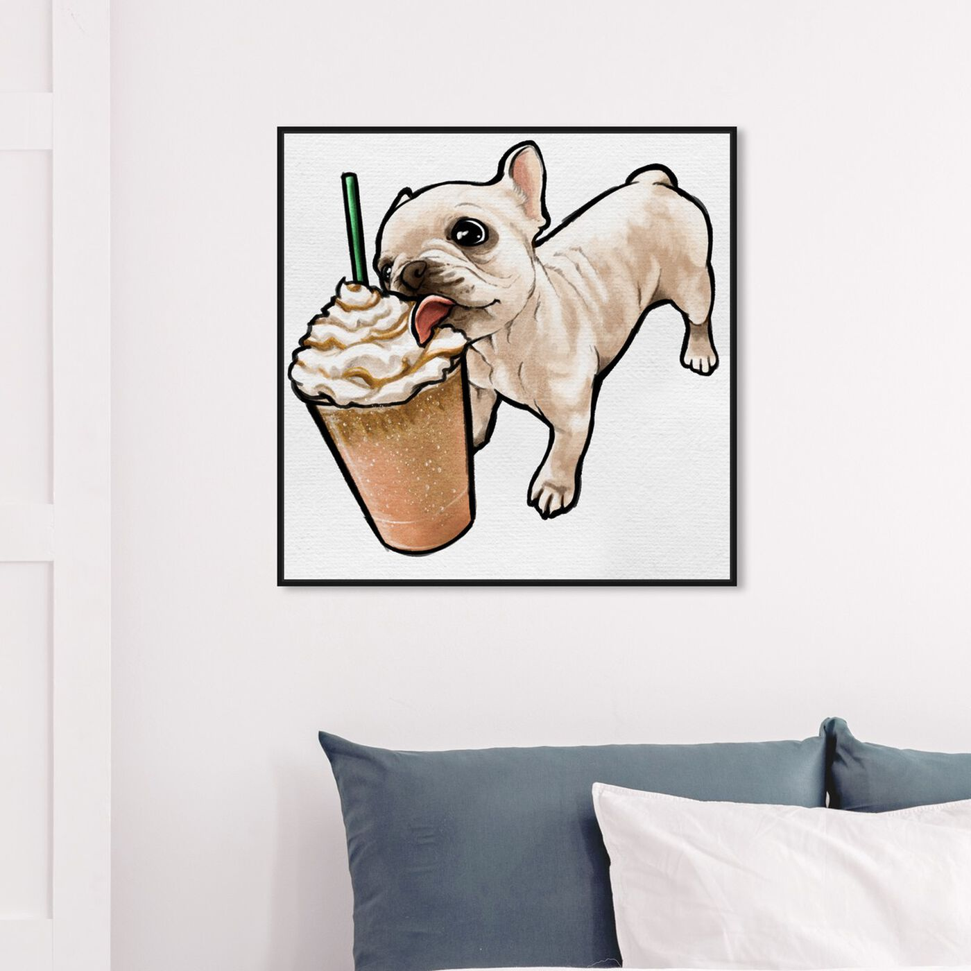 Hanging view of Frenchie and Frappe featuring animals and dogs and puppies art.