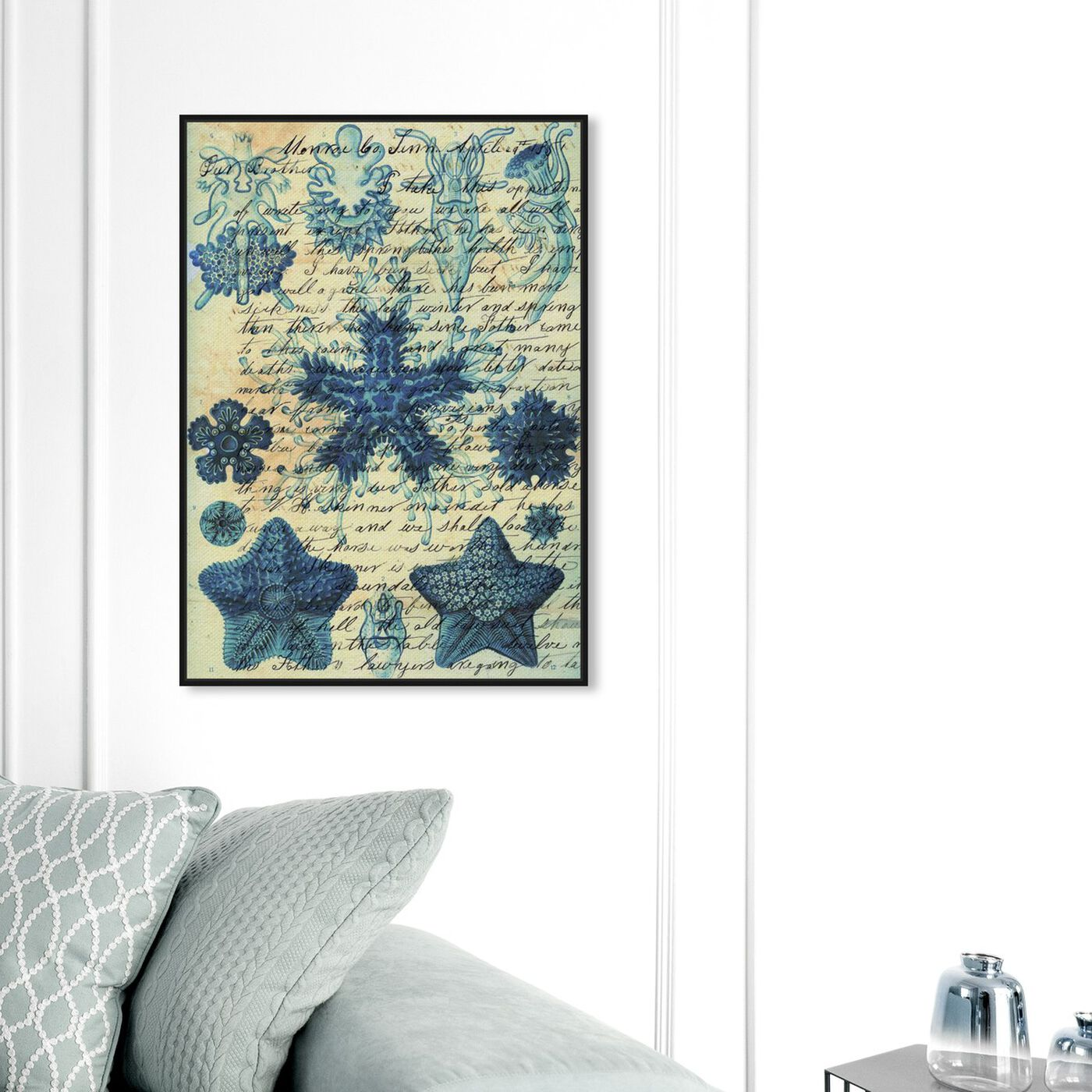 Hanging view of Starfish in Blue featuring nautical and coastal and marine life art.