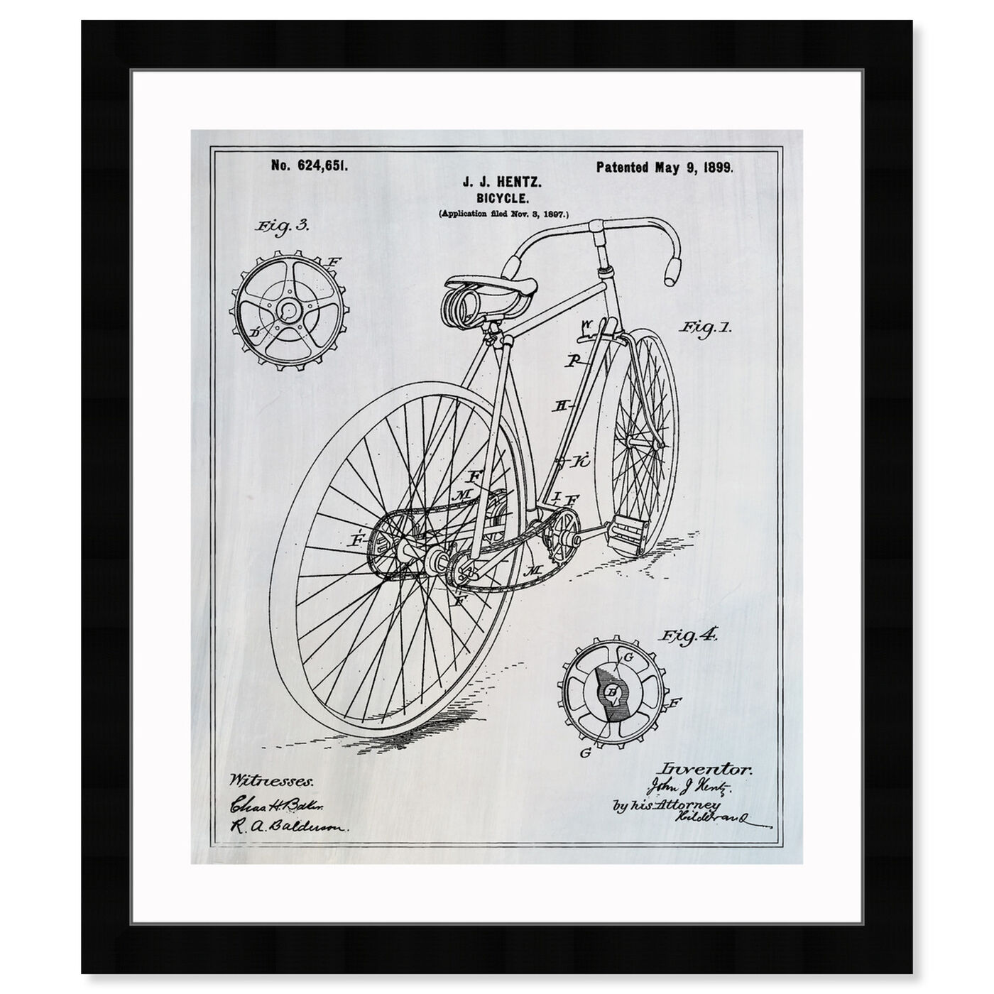 Front view of Bicycle 1899 featuring transportation and bicycles art.