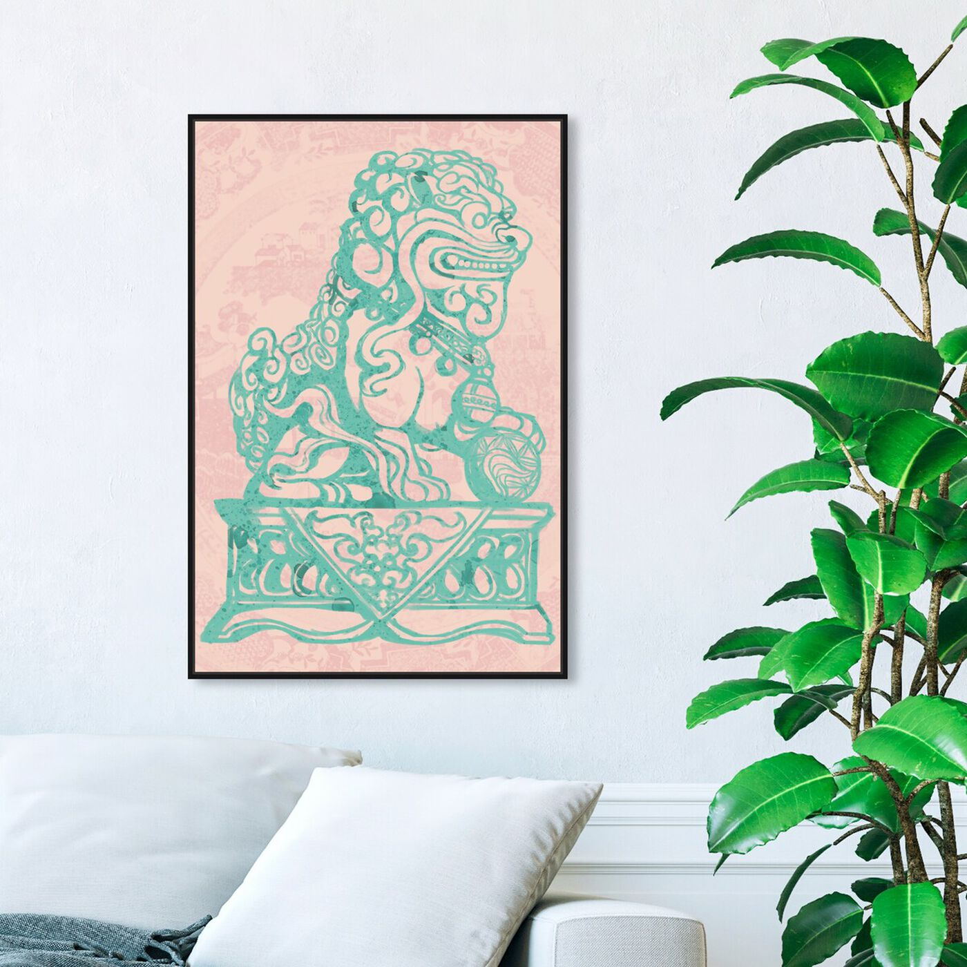 Hanging view of Foo Dog Rose featuring world and countries and asian cultures art.