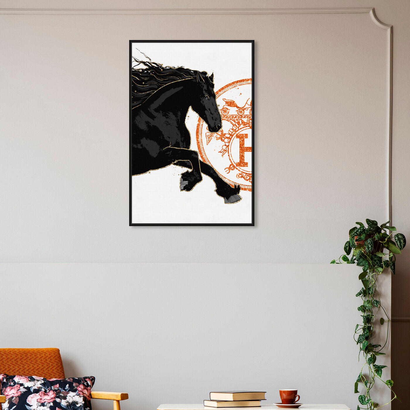 Hanging view of Black Cavalier I featuring classic and figurative and french décor art.