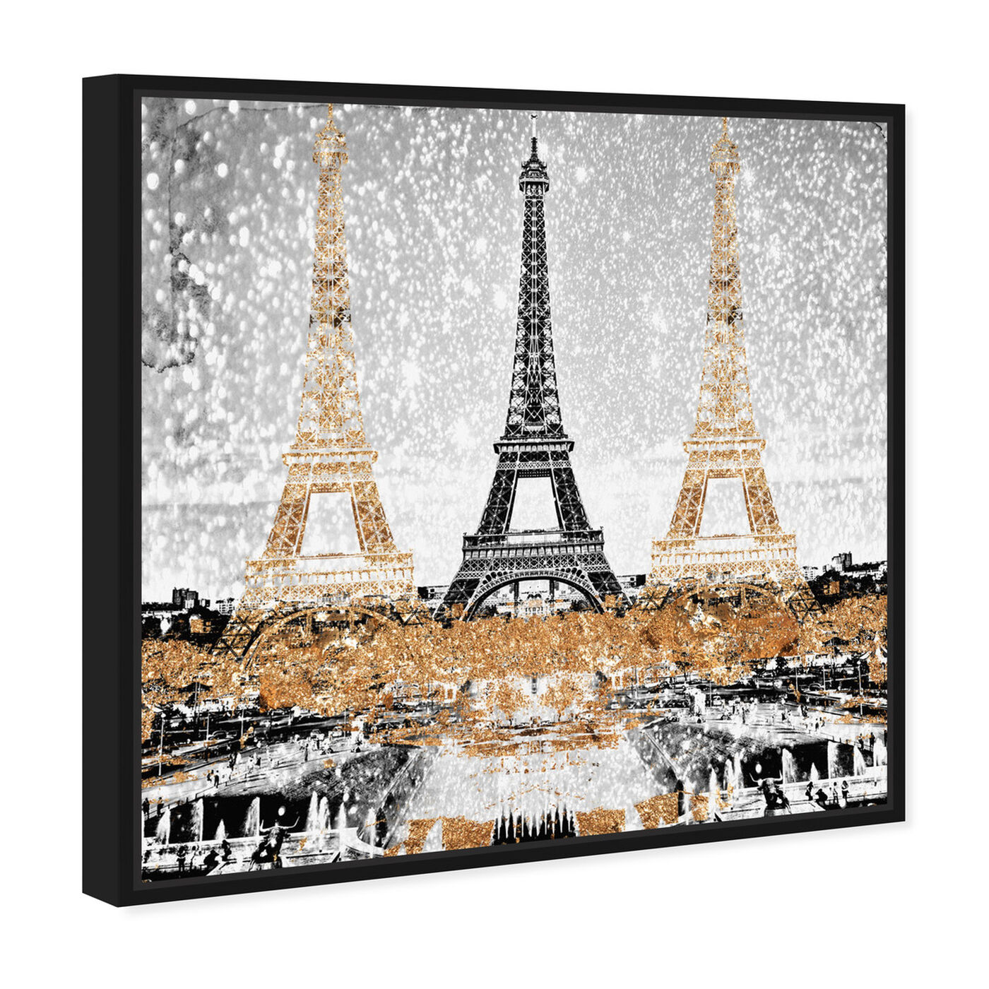 Angled view of Triple Paris Gold featuring cities and skylines and european cities art.