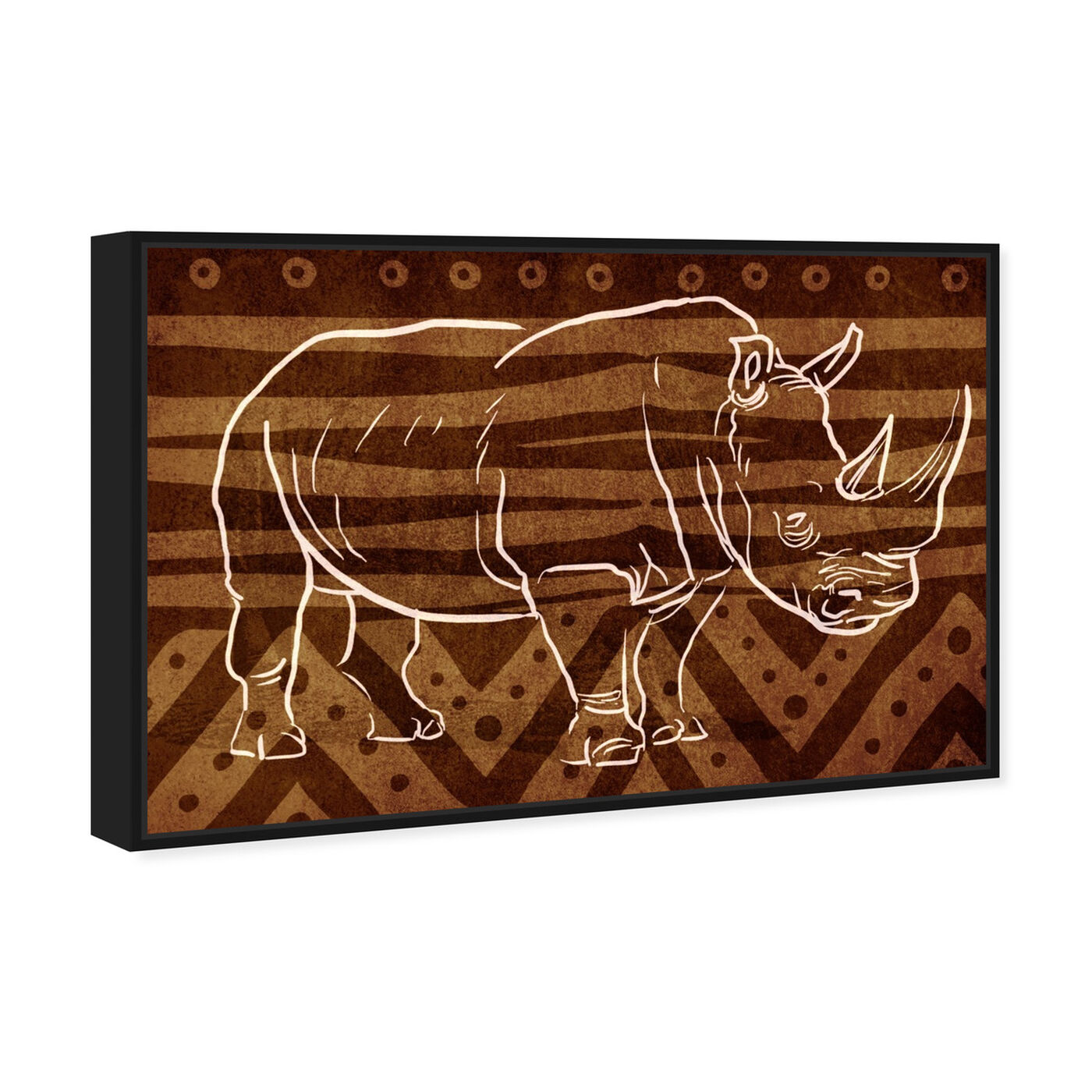 Angled view of Copper Rhino featuring animals and zoo and wild animals art.