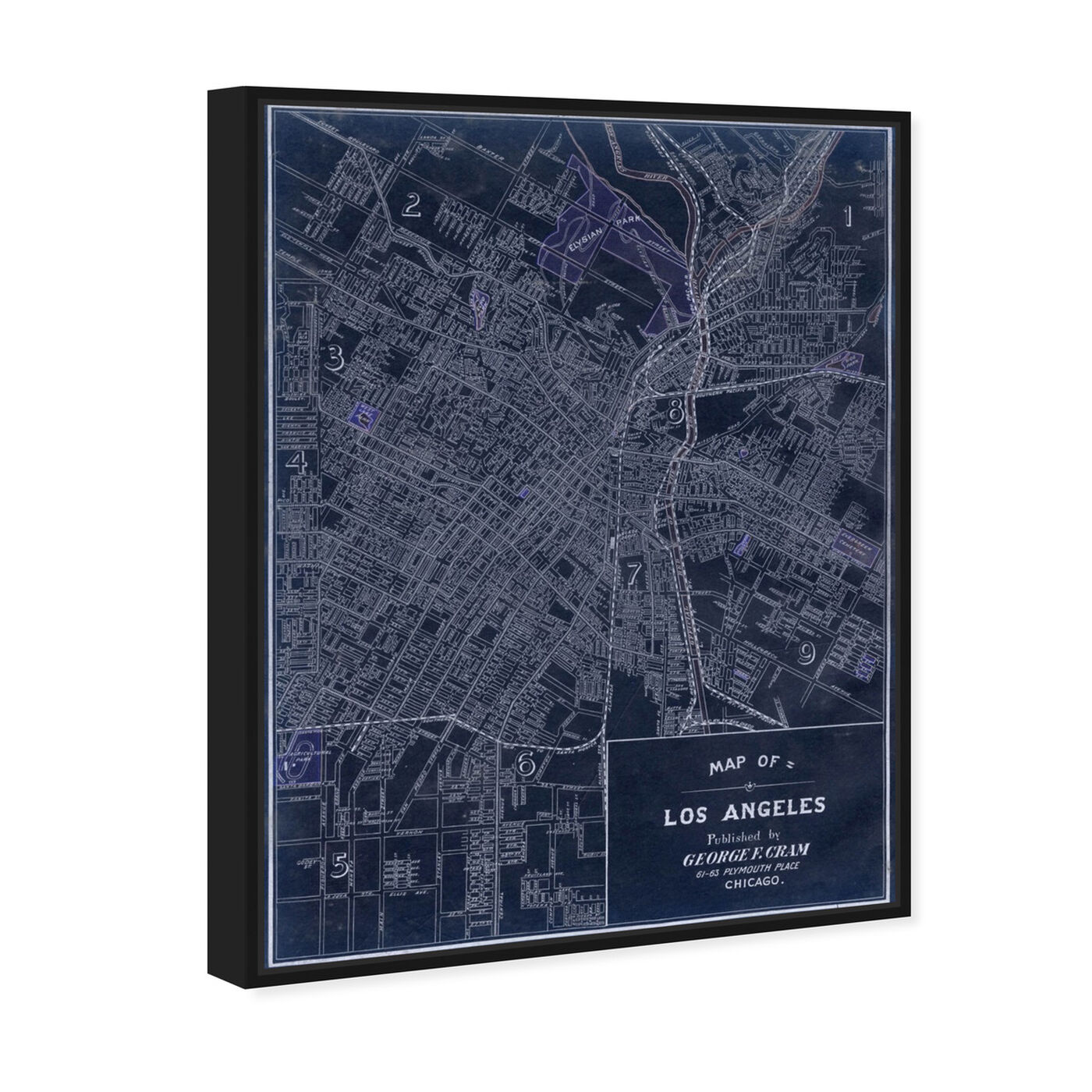 Angled view of Los Angeles 1899 featuring maps and flags and us cities maps art.