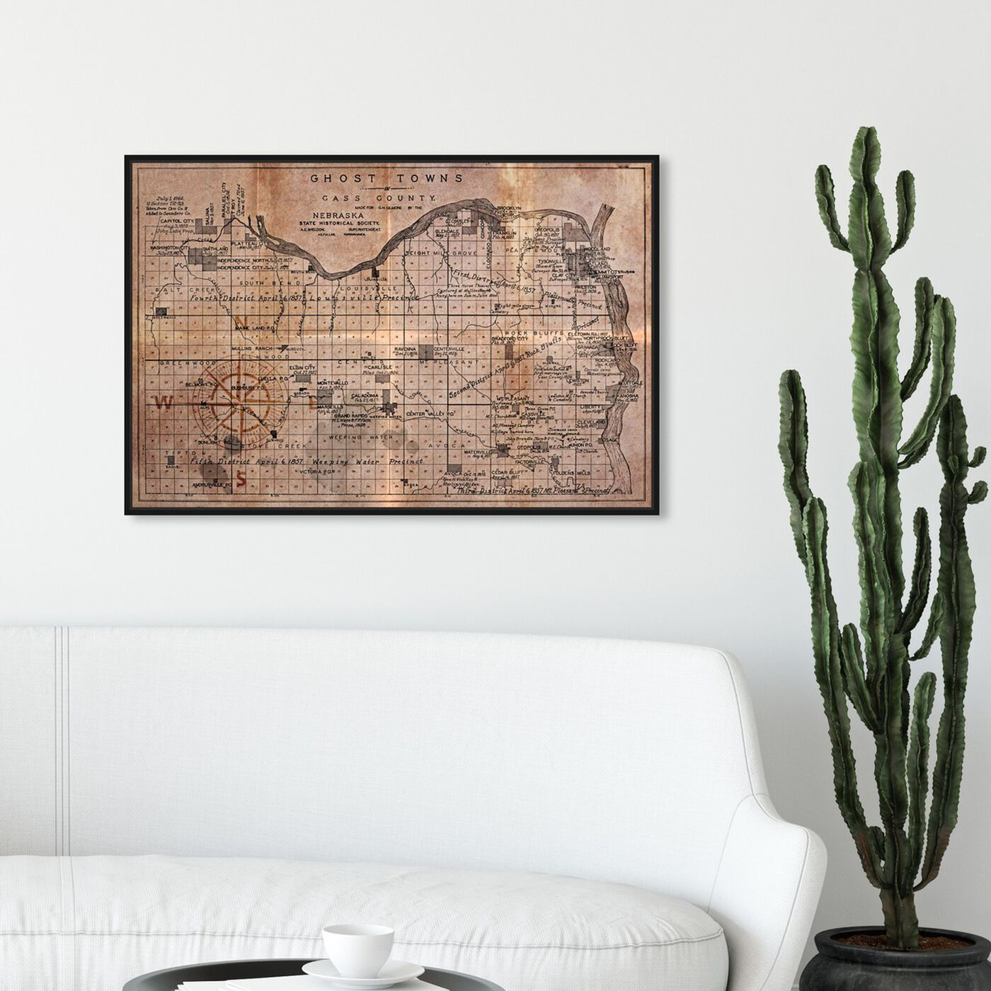 Hanging view of Ghost Towns Map 1866 featuring maps and flags and urban maps art.