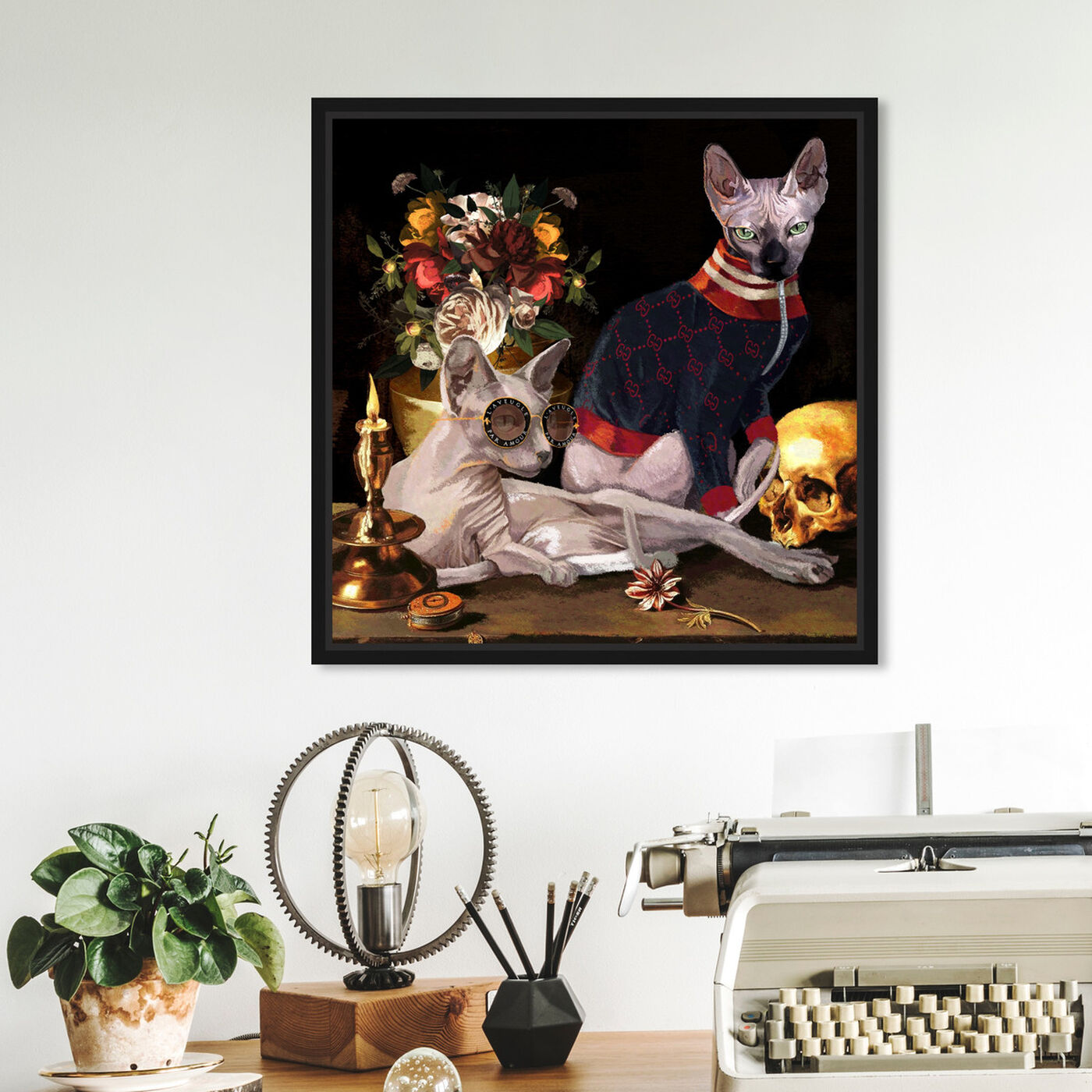 Hanging view of Vanitas Icons featuring animals and cats and kitties art.