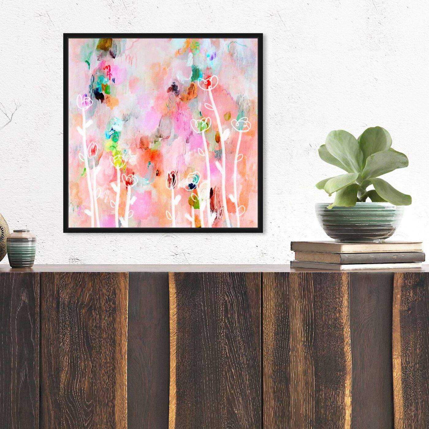 Hanging view of Aurora Flowers featuring abstract and flowers art.