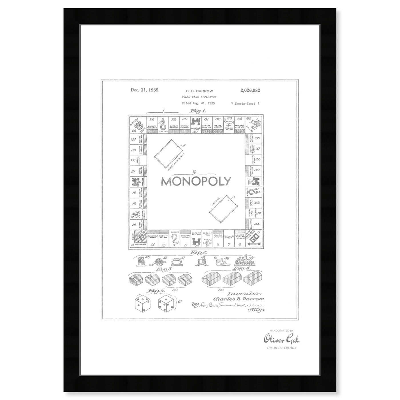 Front view of Monopoly 1935, Silver Foil featuring entertainment and hobbies and board games art.