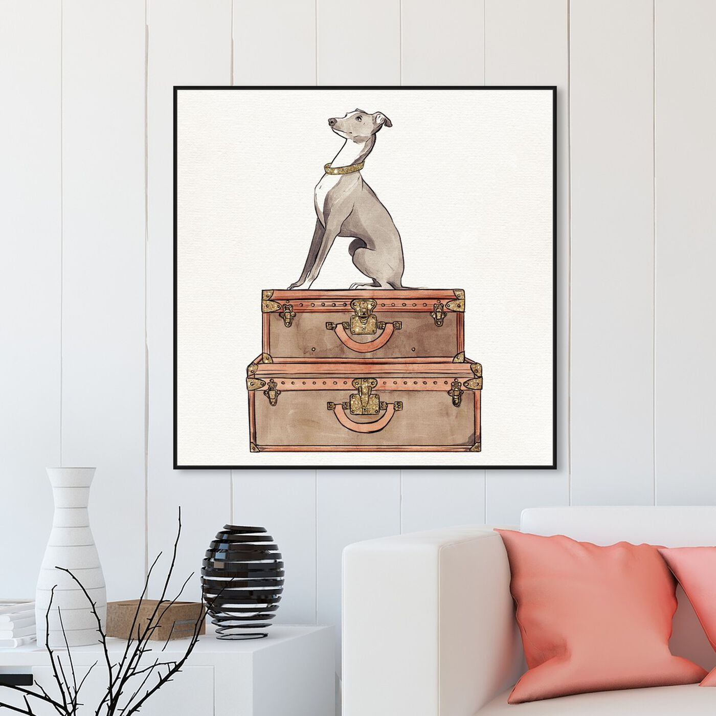 Hanging view of Luxury Greyhound featuring fashion and glam and travel essentials art.