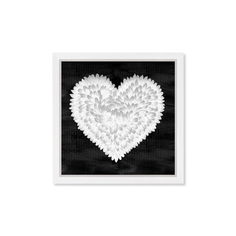 White On Black Feather Heart