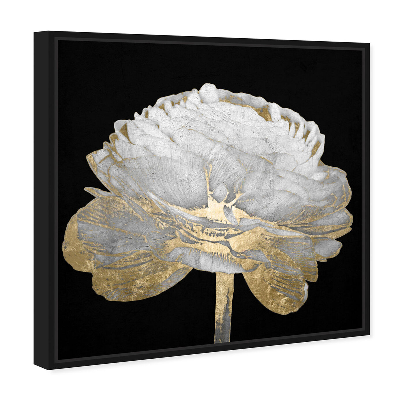 Angled view of Gold and Light Floral II featuring floral and botanical and florals art.