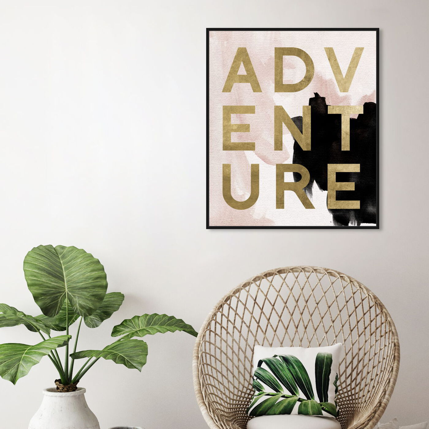 Hanging view of More Adventures Neutral featuring typography and quotes and motivational quotes and sayings art.