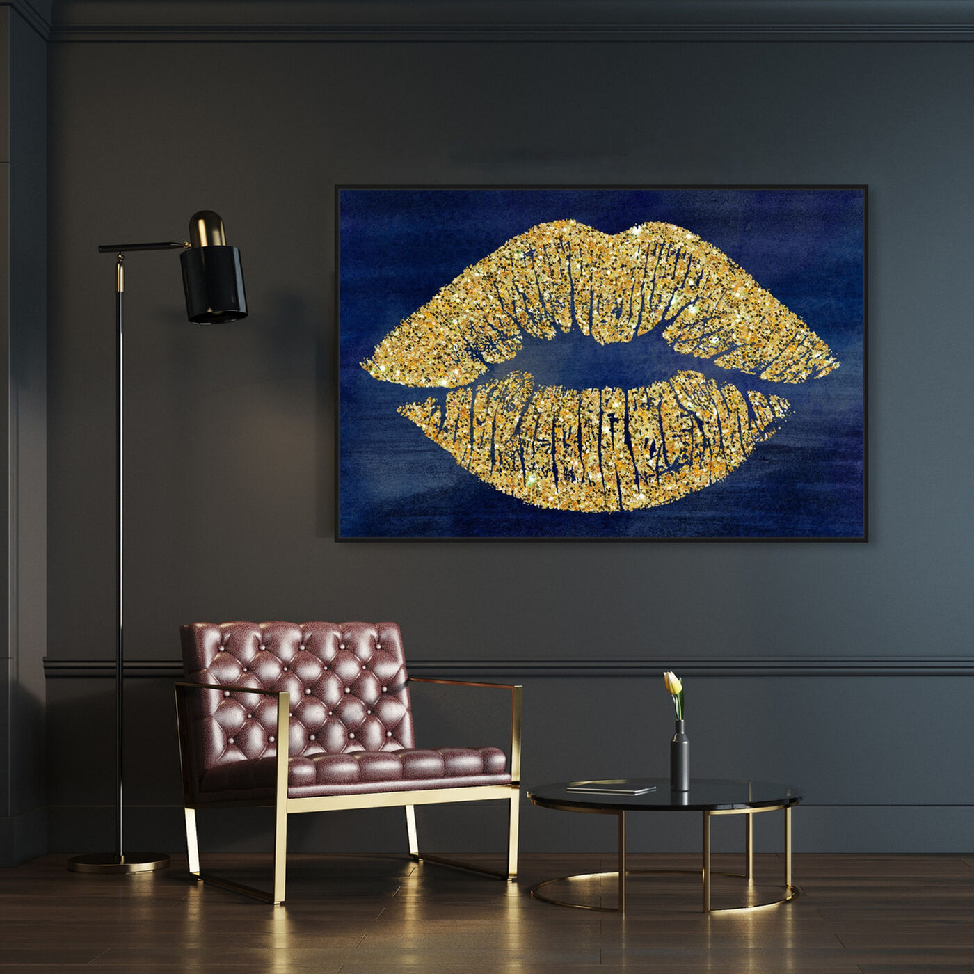 Hanging view of Solid Kiss Navy Lips featuring fashion and glam and lips art.