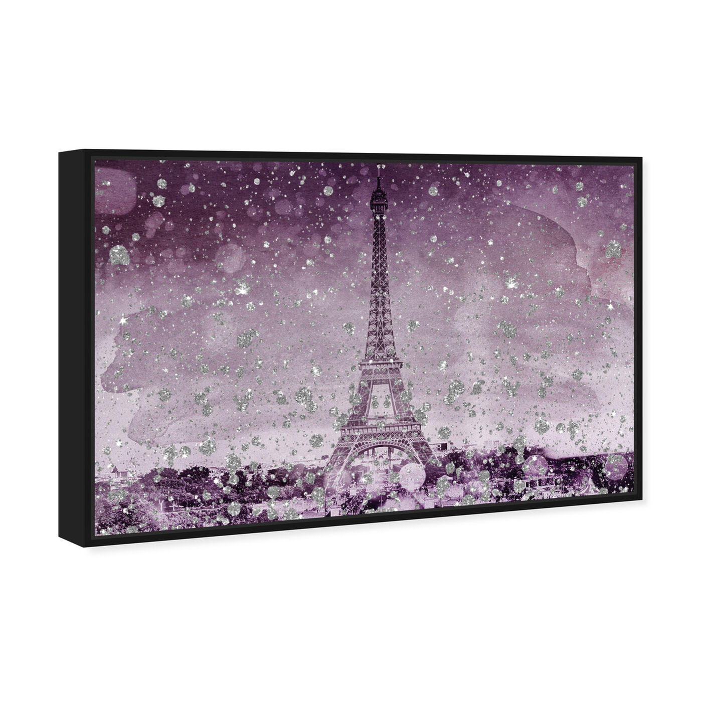 Angled view of Eiffel Glitter Plum featuring cities and skylines and european cities art.