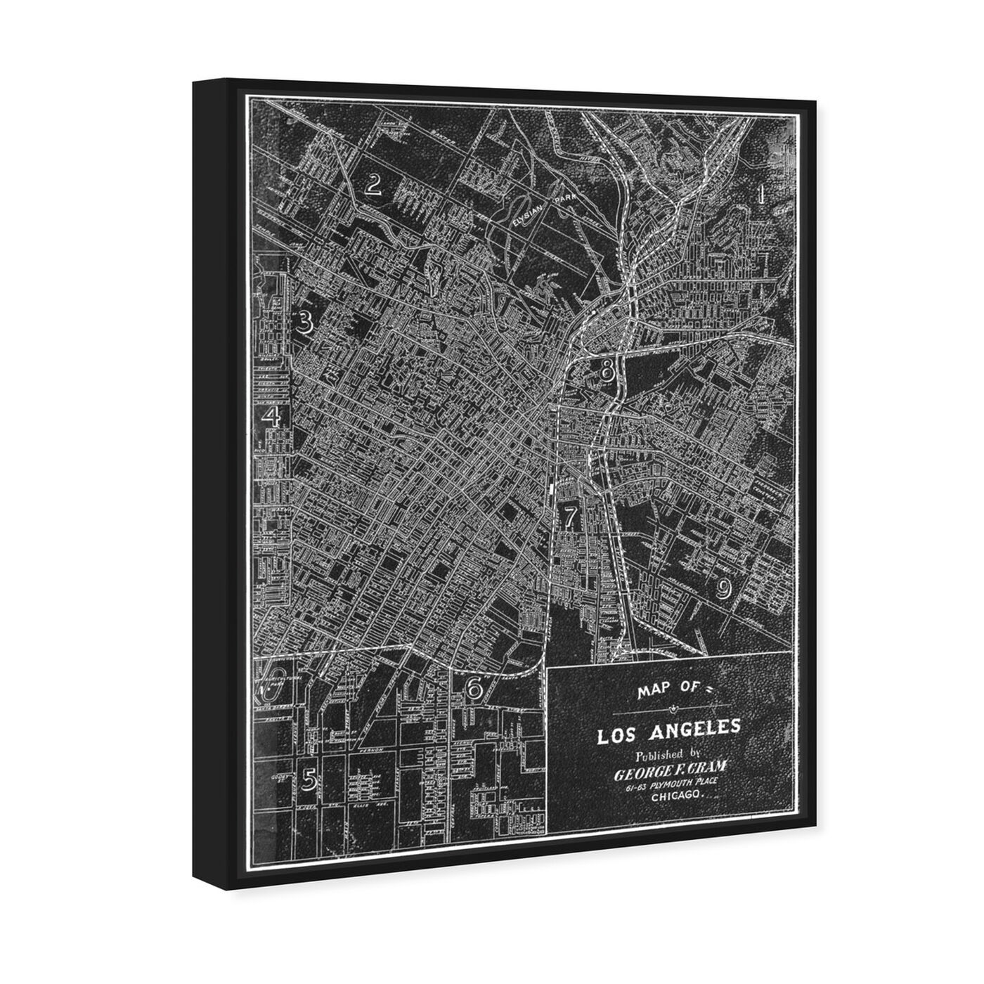 Angled view of Los Angeles Map 1899 Grey featuring maps and flags and us cities maps art.