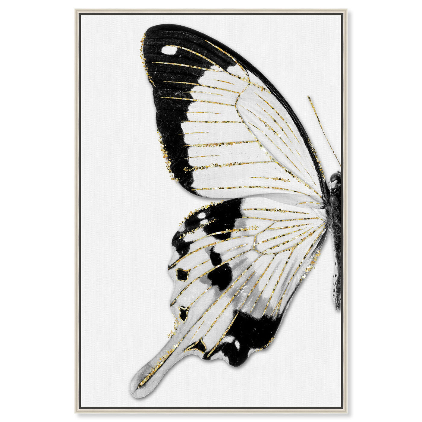 Front view of Monochrome Glitter Butterfly II featuring animals and insects art.