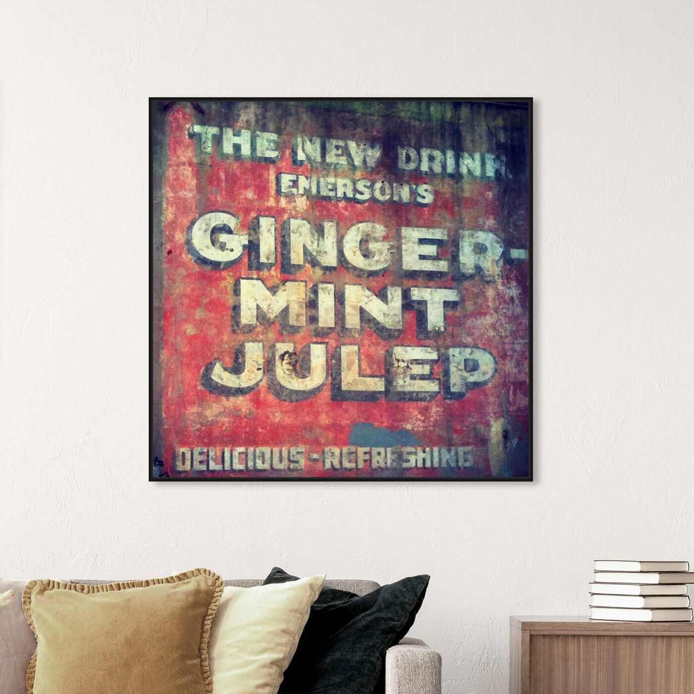 Hanging view of Ginger Mint Julep featuring advertising and promotional brands art.