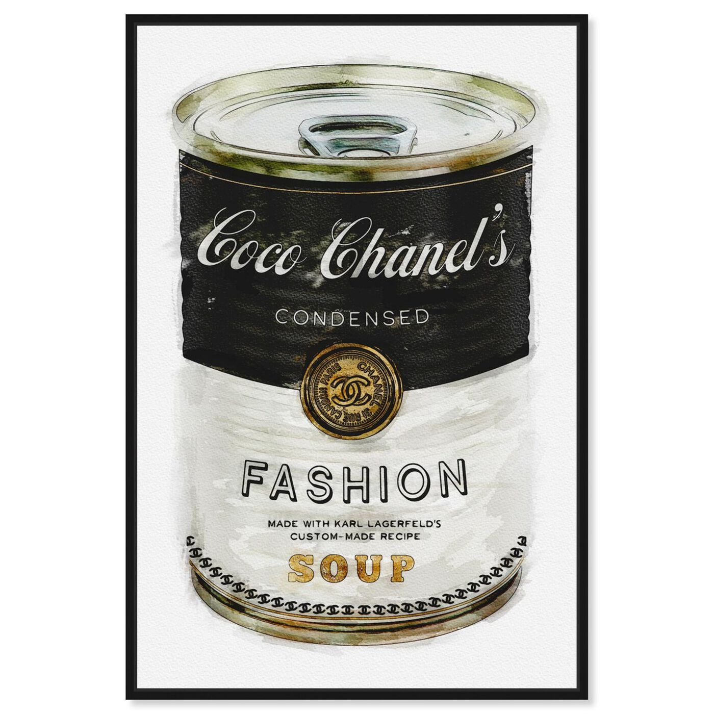 Front view of Fashion Soup featuring fashion and glam and soup can art.