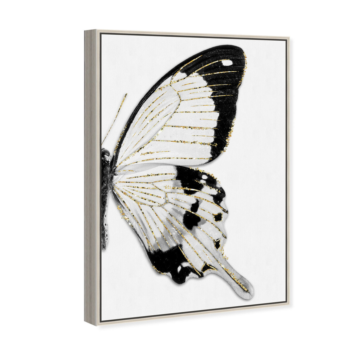 Angled view of Monochrome Glitter Butterfly I featuring animals and insects art.