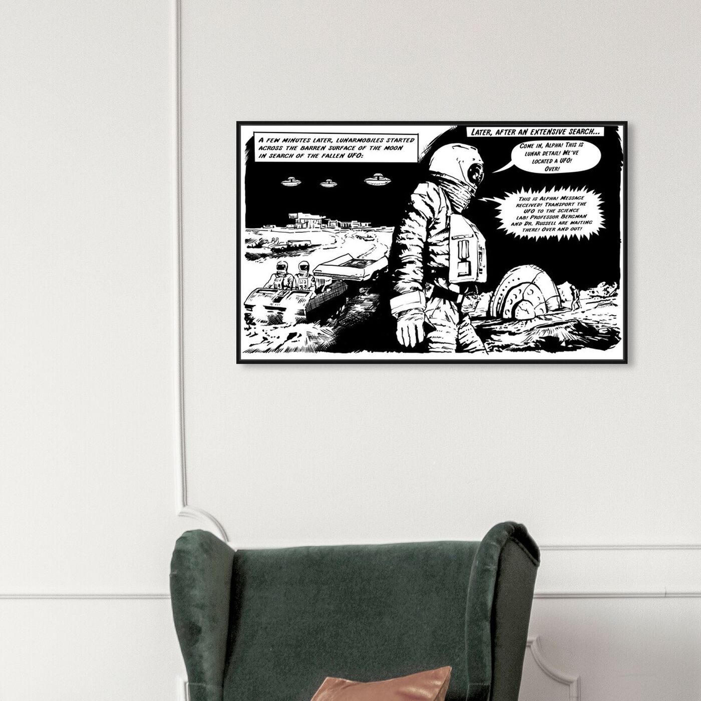 Hanging view of On The Moon featuring advertising and comics art.