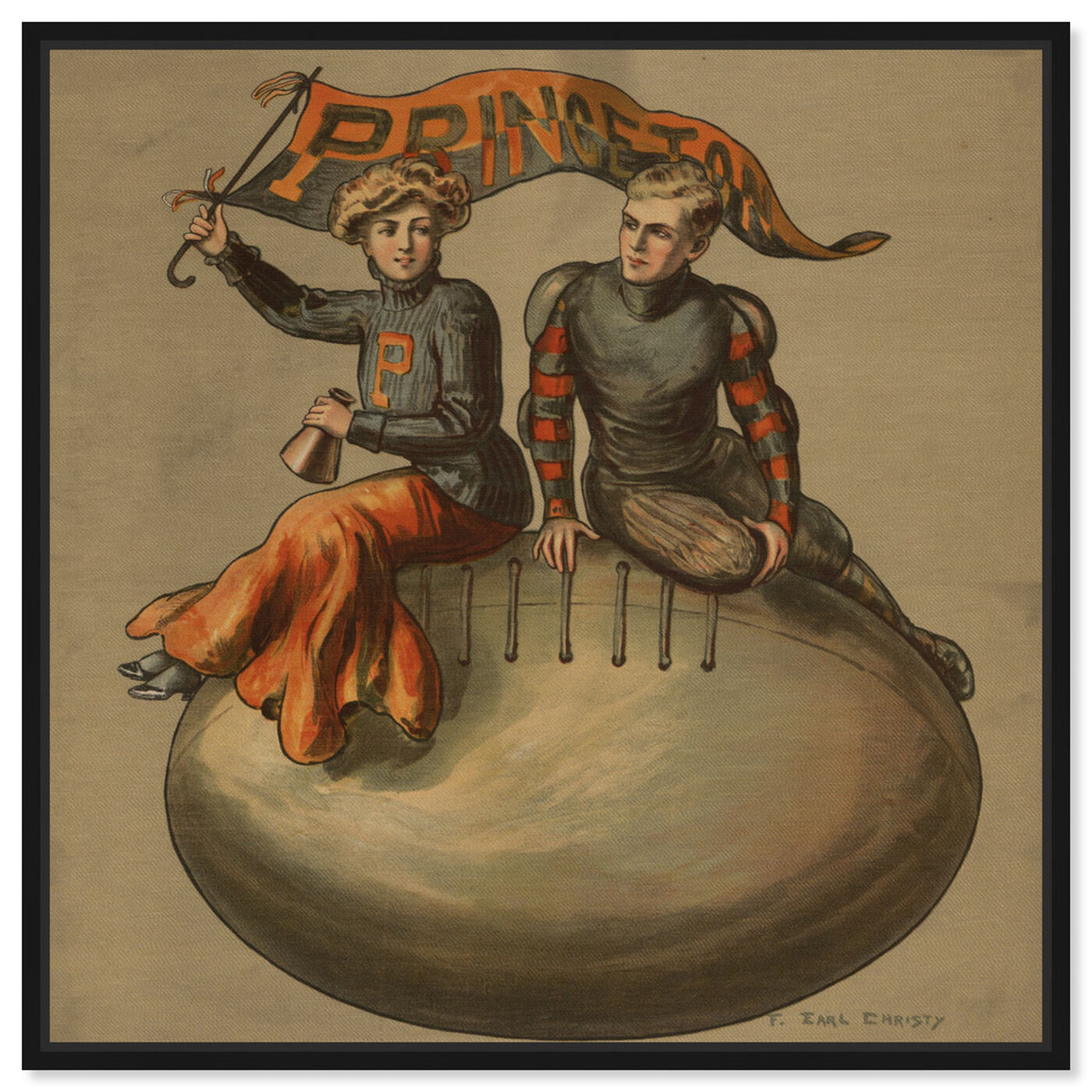 Front view of Princeton Vintage College Football featuring sports and teams and football art.
