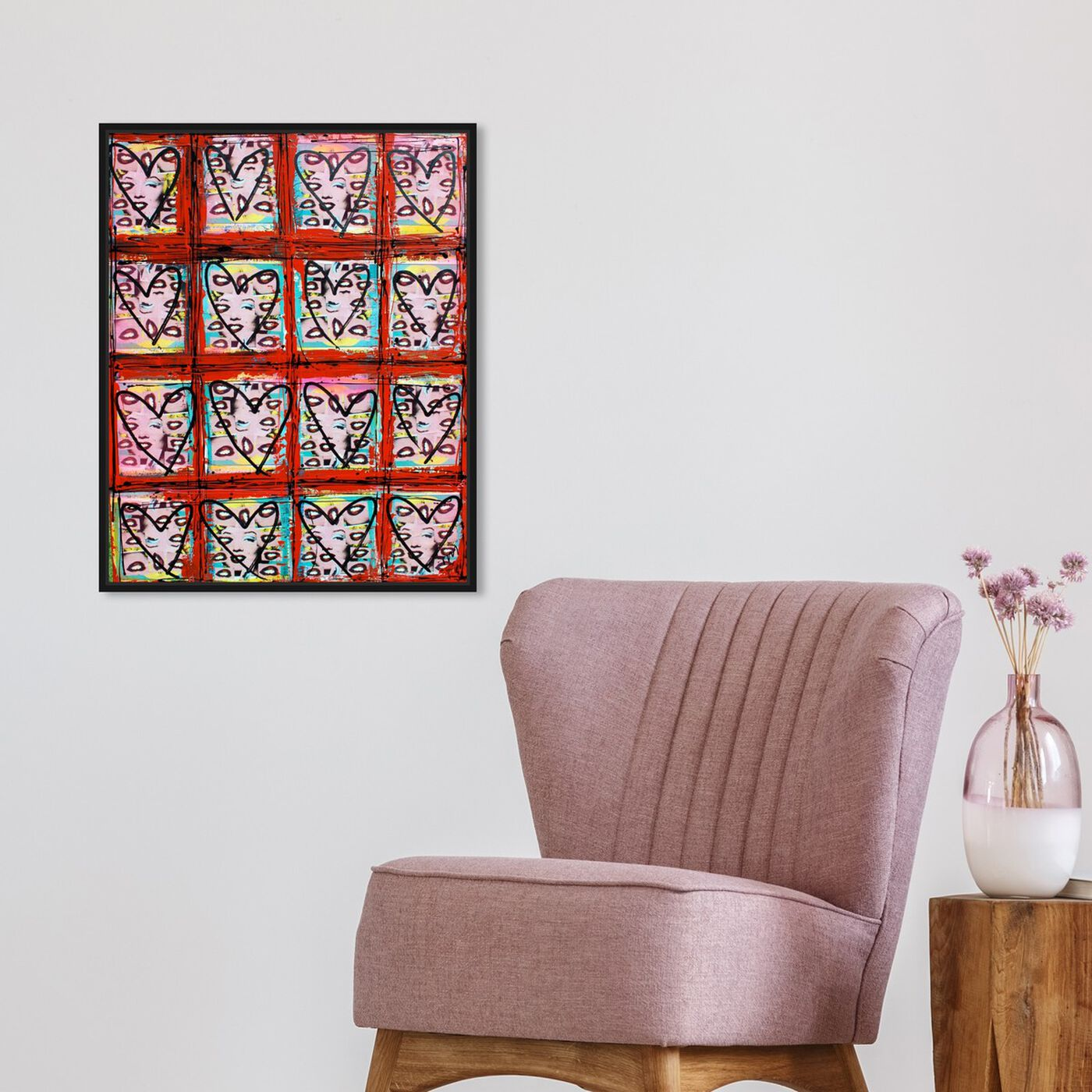Hanging view of Lust Eyes by Tiago Magro featuring fashion and glam and hearts art.