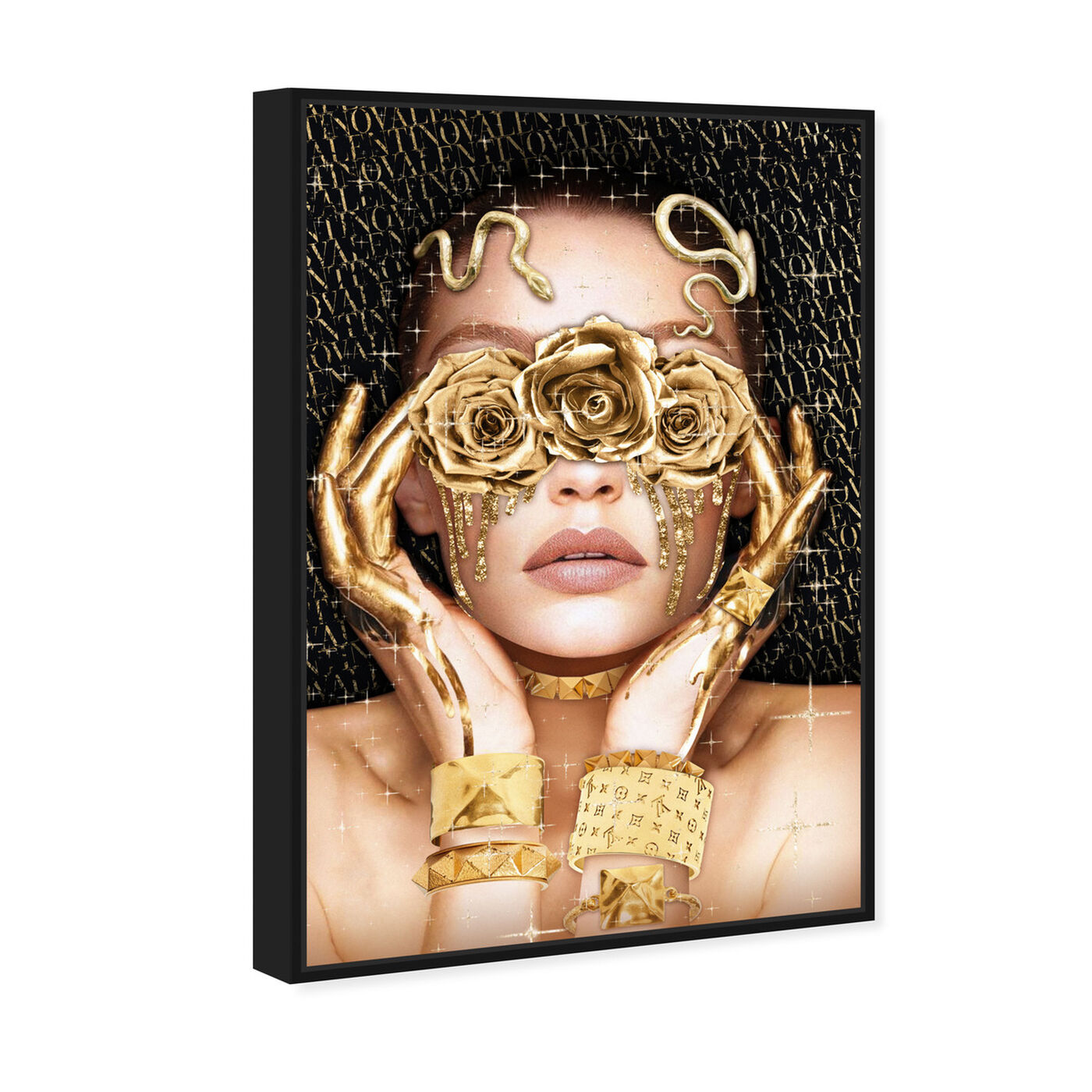 Angled view of Golden Romantic featuring fashion and glam and portraits art.