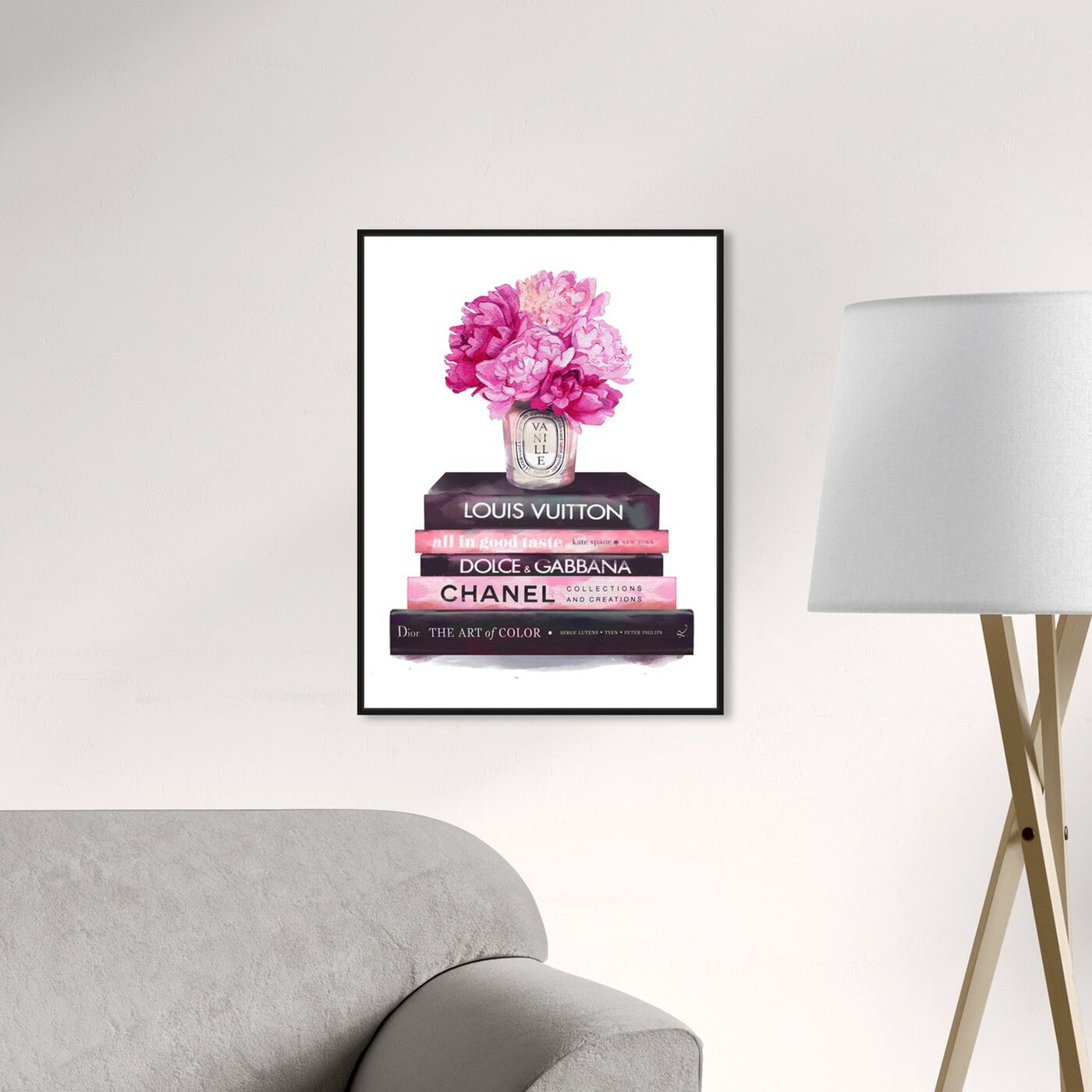 Hanging view of Fashion Base Books featuring fashion and glam and books art.