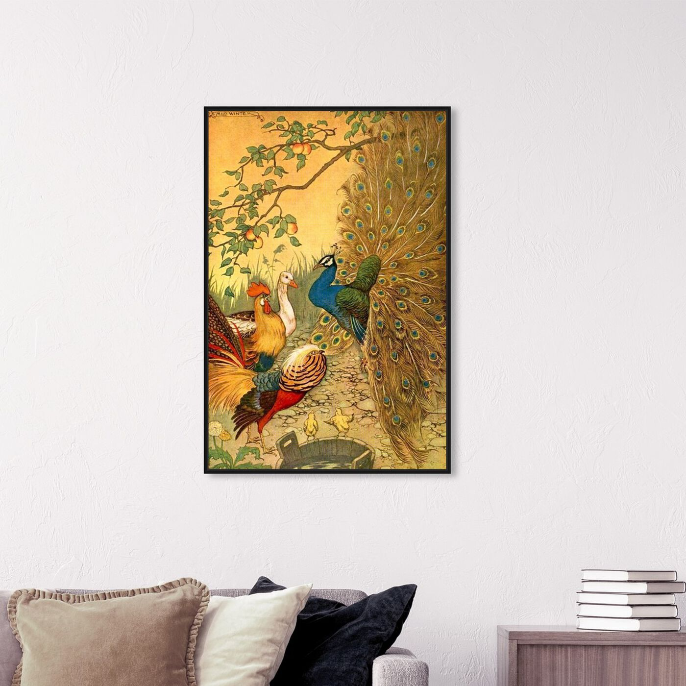 Hanging view of The Peacock featuring animals and birds art.