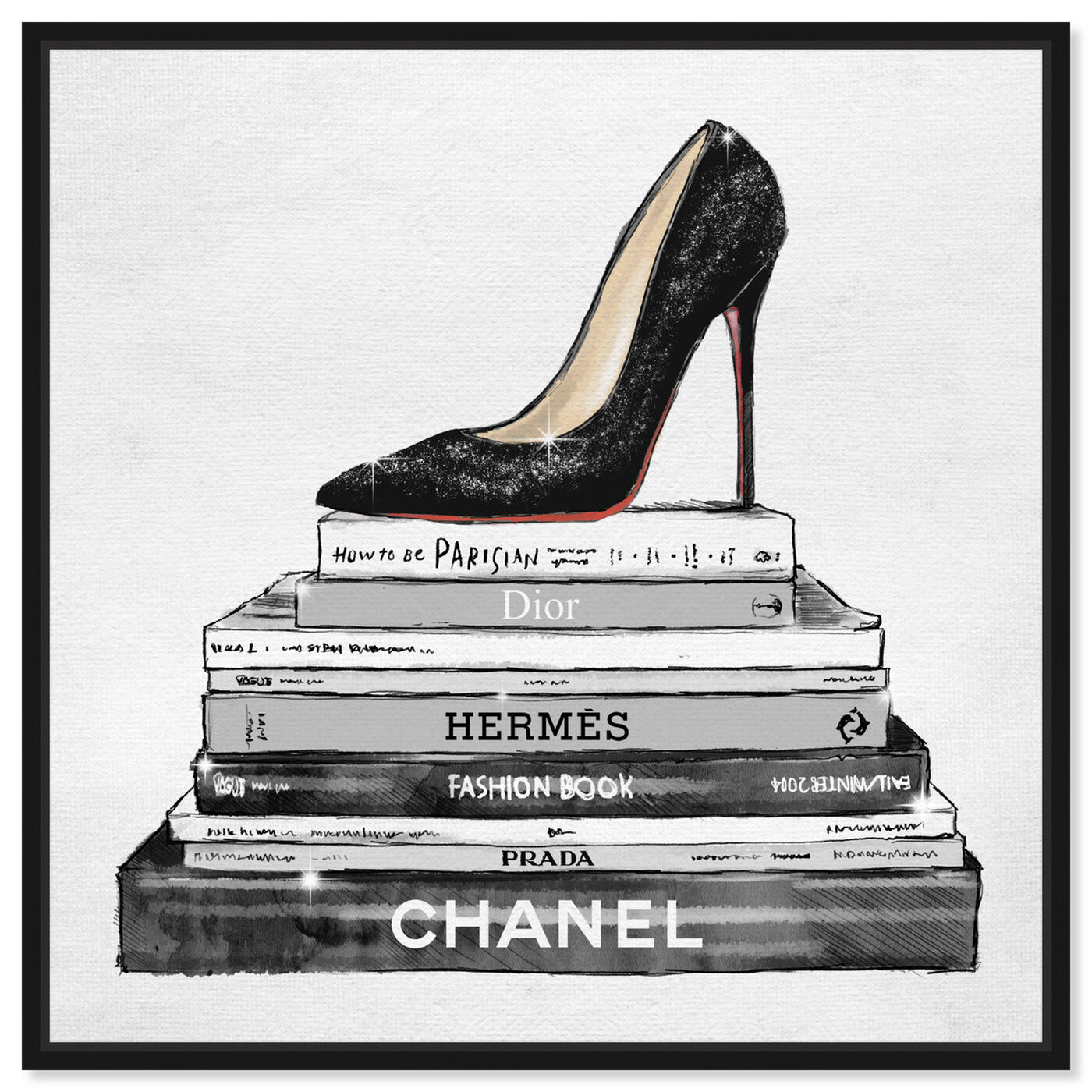 Front view of Glam Shoe and Books featuring fashion and glam and shoes art.