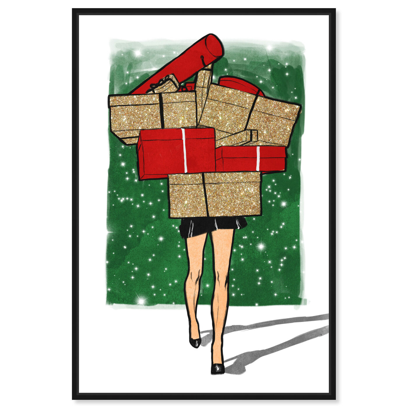 Front view of Holiday Gifts Overload featuring fashion and glam and dress art.