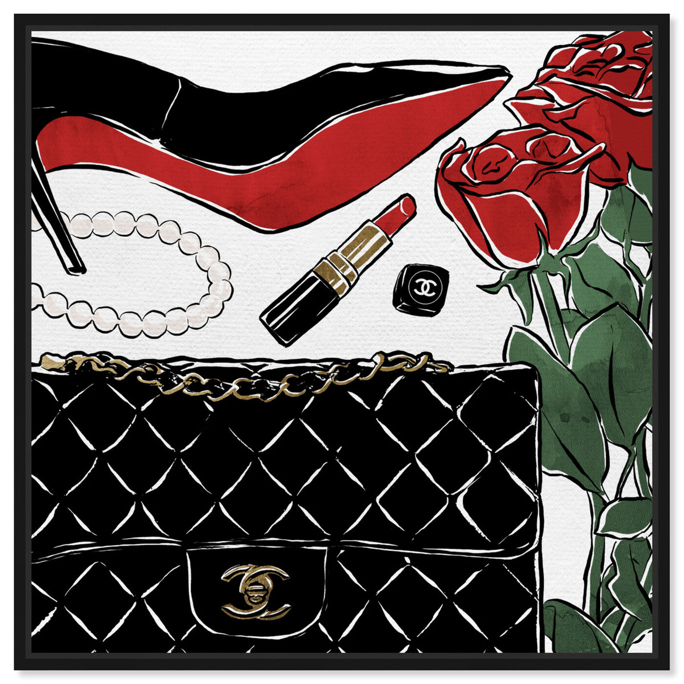 Front view of Red Roses and Black Purses featuring fashion and glam and shoes art.