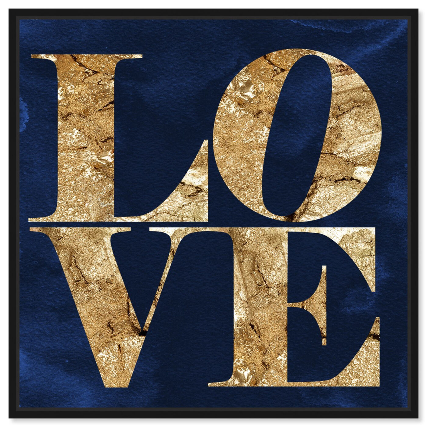 Front view of Solid Gold Navy featuring typography and quotes and love quotes and sayings art.