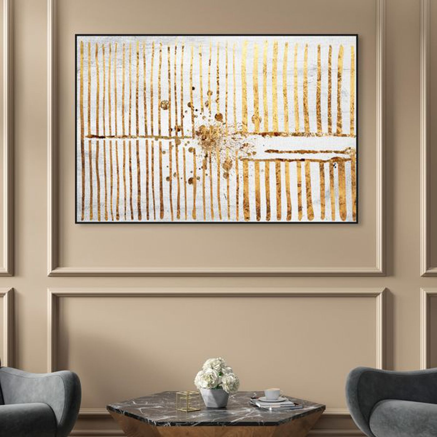 Hanging view of Love Force Field Gold featuring abstract and patterns art.