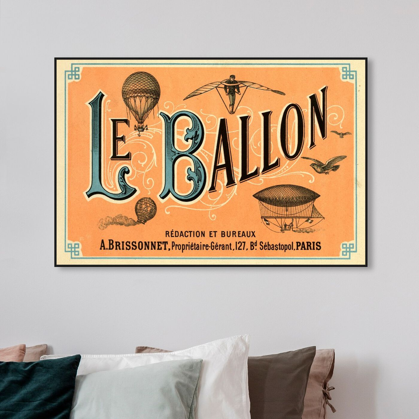 Hanging view of Le Balloon 1883 featuring transportation and air transportation art.